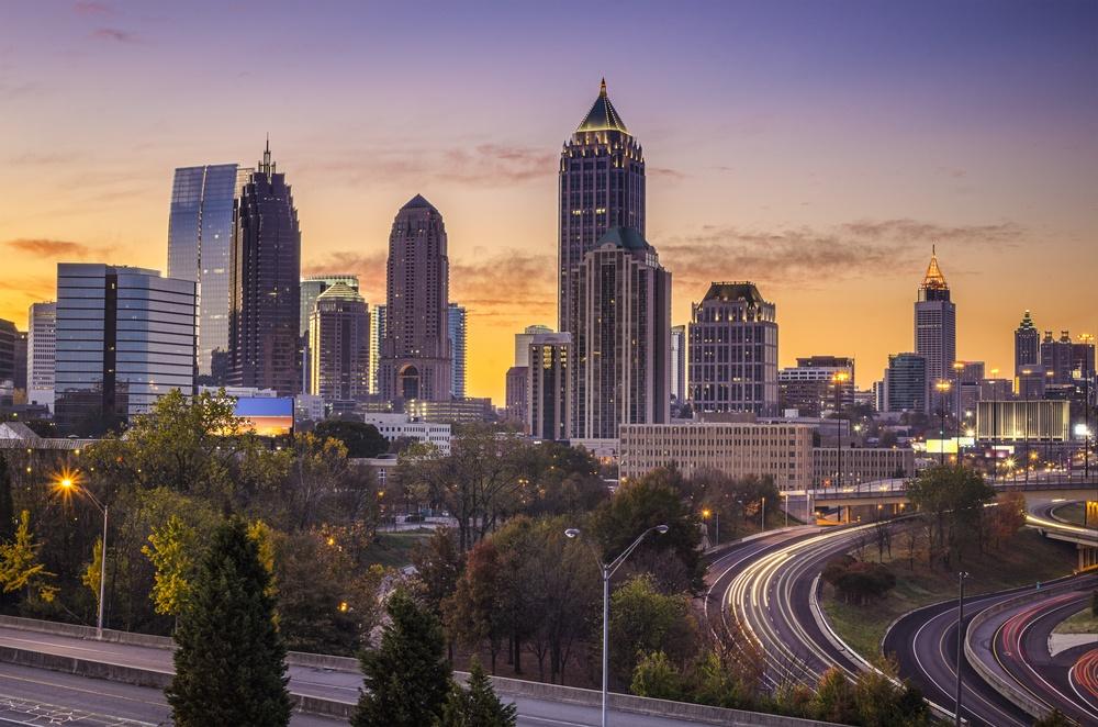 Atlanta, Georgia downtown skyline at sunrise.